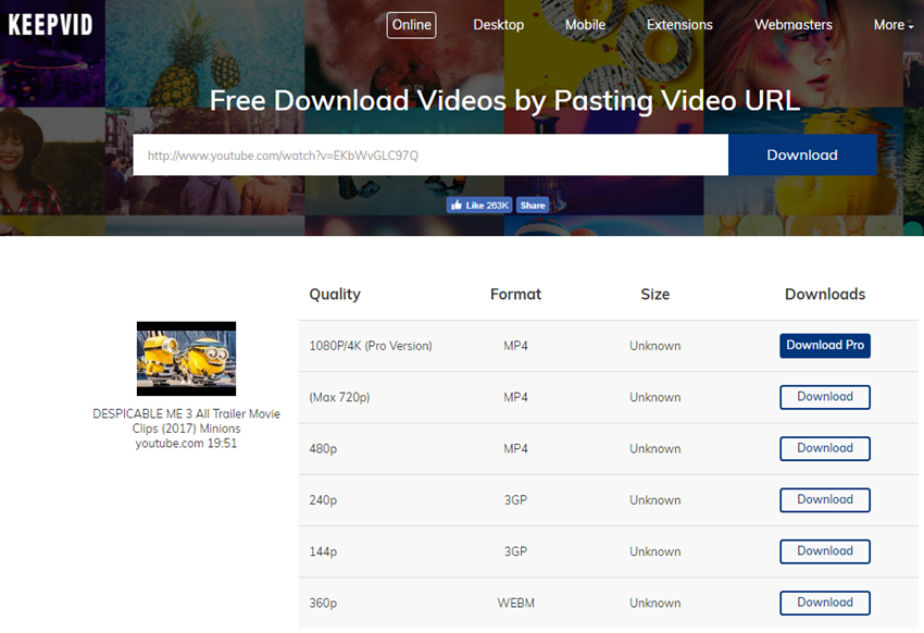Download HTML 5 videos on mac or pc-select quality and download