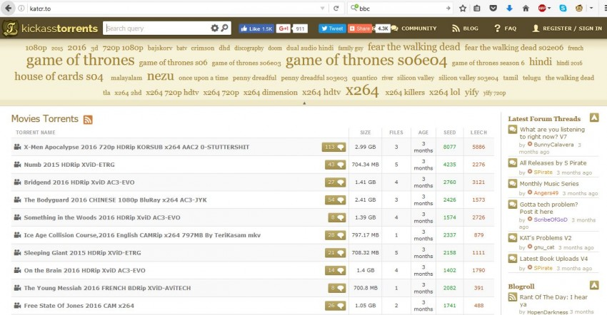 KickAss Torrents alternative - site 2