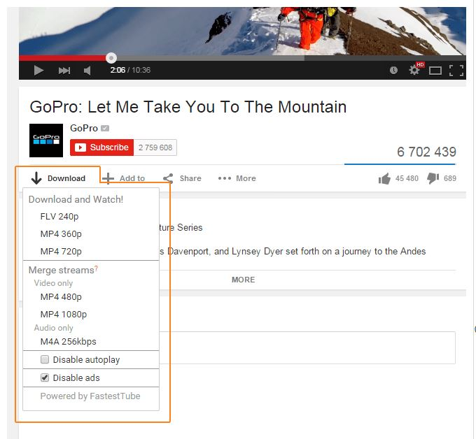 Extract Youtube videos-FastestTube extension