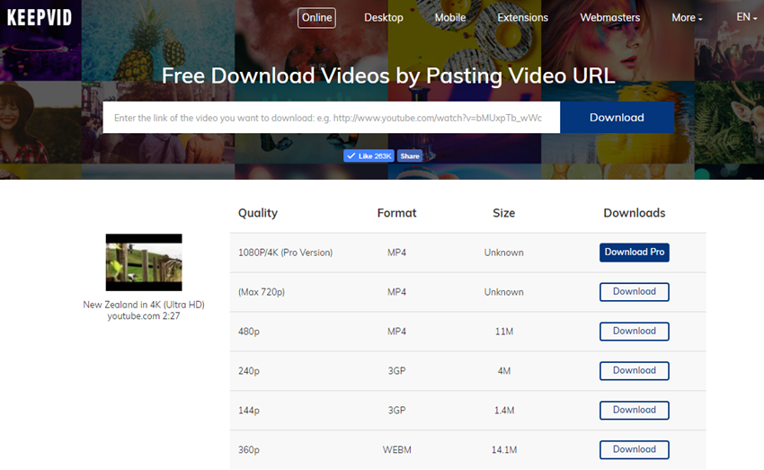 how to download youtube videos using keepvid