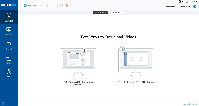 Download MP3 from Tumblr - Install and Start KeepVid Pro