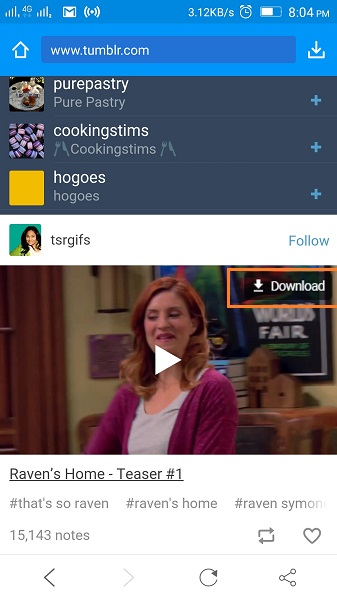 Download Tumblr Videos on Android - Tap Download Button