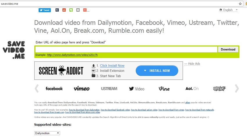 online Dailymotion Downloader - Savevideo.me
