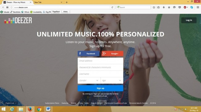 sign up for deezer - sign up page