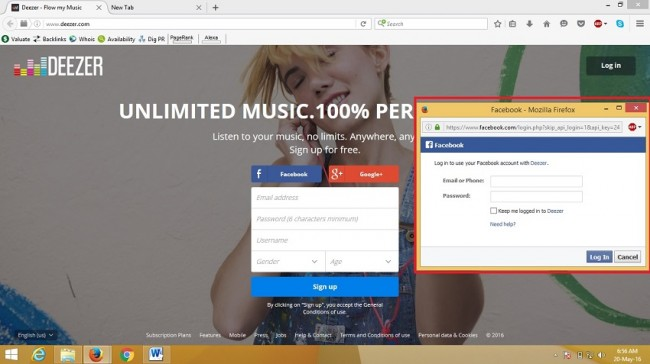 sign up for deezer - clicked on facebook