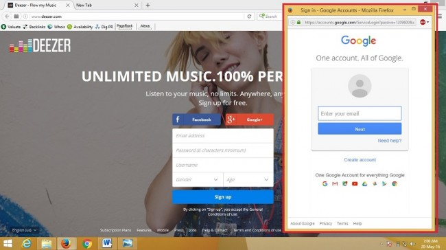 sign up for deezer - account with Google+