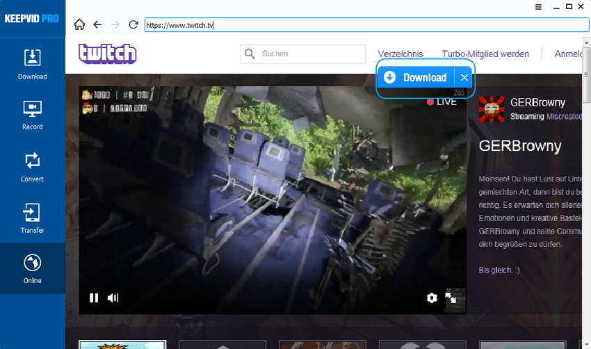 Download twitch video's - download knop