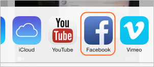 Add Screen Recording Video on Facebook - Tap Facebook Icon to Share