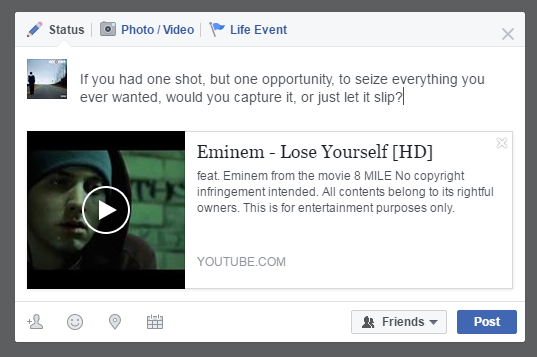 Post YouTube video on Facebook