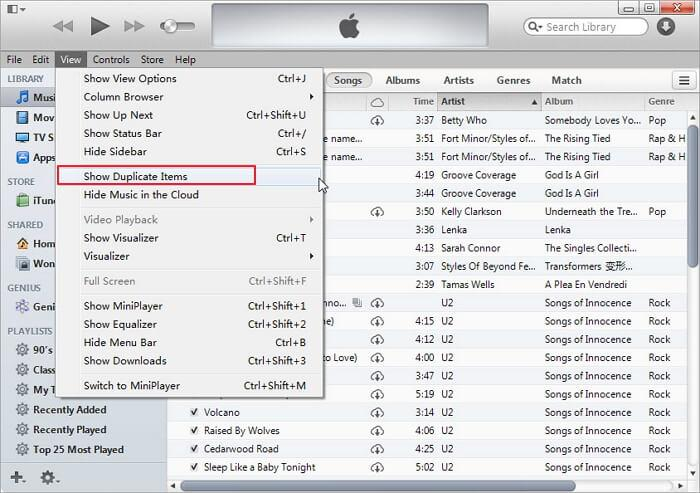 how to delete duplicates in itunes-view-Show Duplicate Items