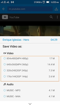 Android App to Download YouTube Videos - Select the Video Quality