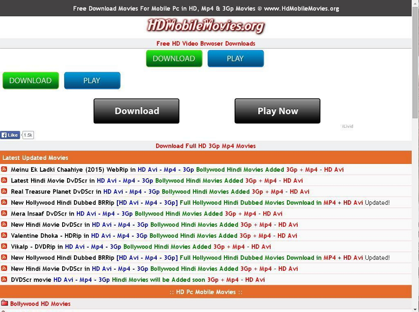Mobile sites for downloading series