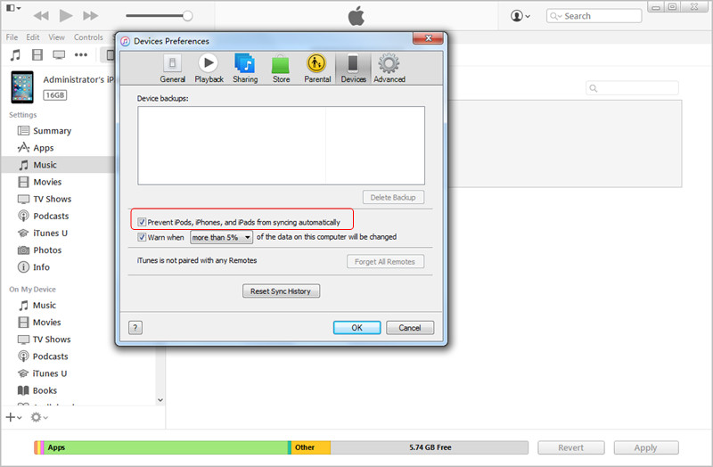 Disable Auto Sync in iTunes