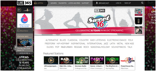 free music streaming online live 365