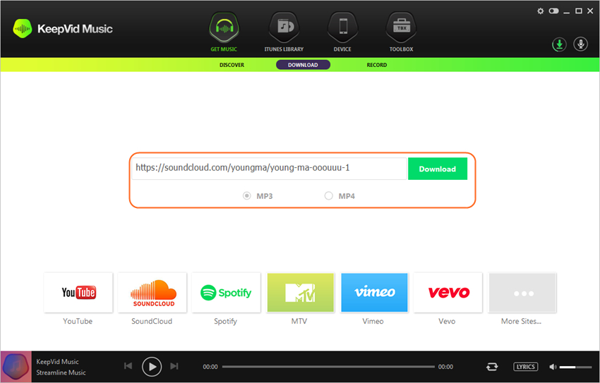 SoundCloud Downloader Online - Start KeepVid Music