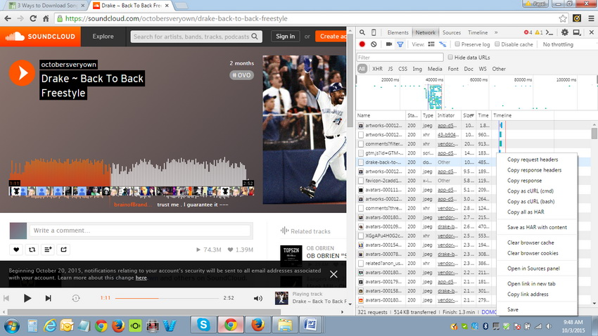 How to get songs downloaded from Soundcloud - Open in New Tab