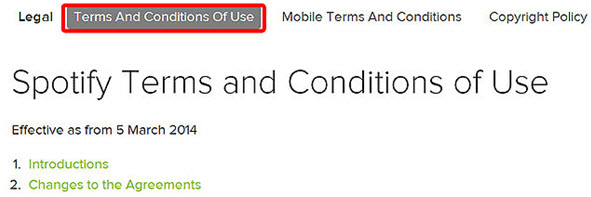 Listen to Spotify Music Online-read the terms and condition