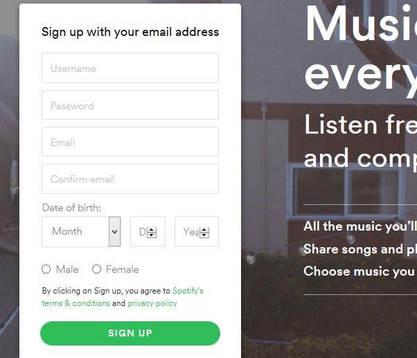 Tips for beginner spotify username,spotify password-Sign up by Facebook