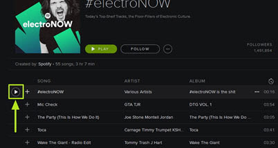 Play music on Spotify on web-play and listen to music