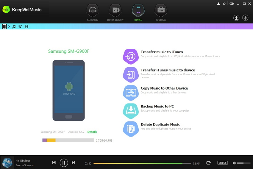 transfer recorded spotify music to Android-connect android to pc