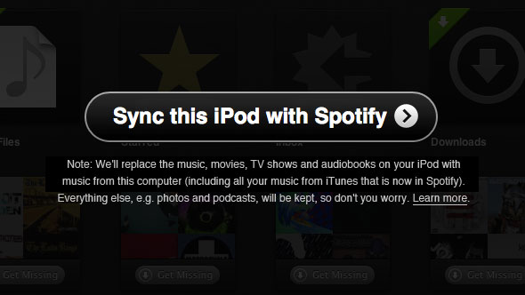 Sync iPod with Spotify App