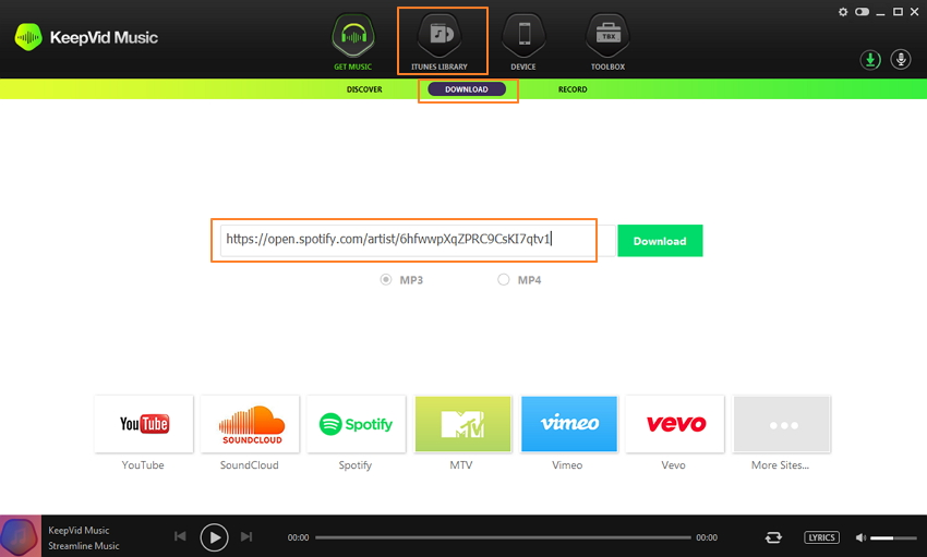 copy the spotify music to KeepVid Music or burn spotify to CD