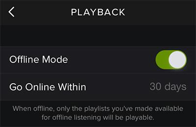 Spotify for iPhone online or Spotify offline iPhone-offline mode