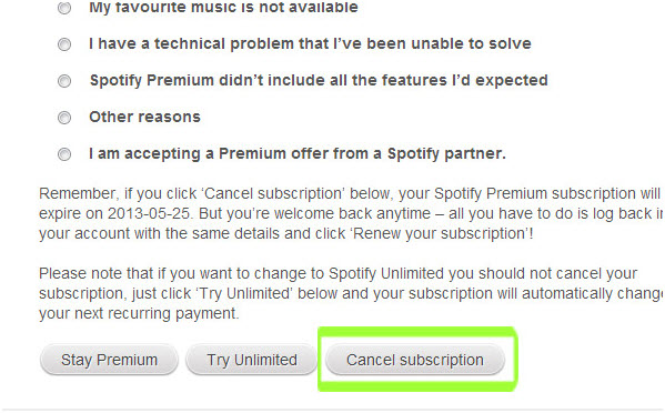tips-spotify-subscription-select you reason to cancel subscription