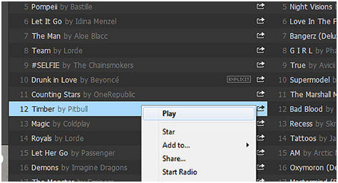 Listen to Spotify Music Online-add to playlist and add to star