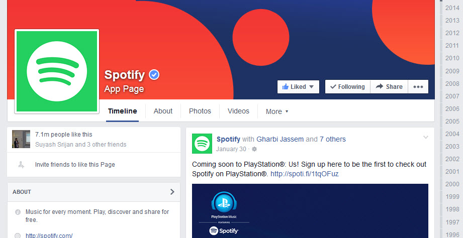 Ways to keep in touch with Spotify streaming-facebook