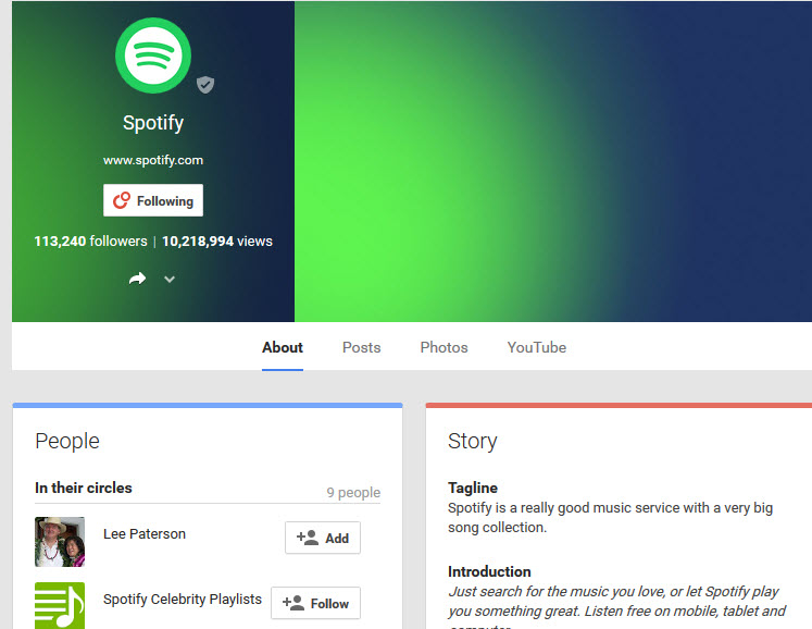 Ways to keep in touch with Spotify streaming-Google plus