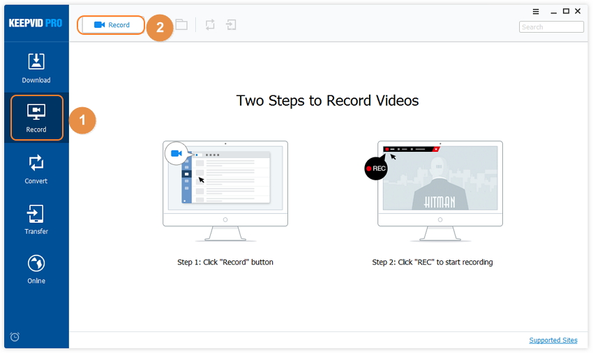 download CBS Videos - recording way step 1
