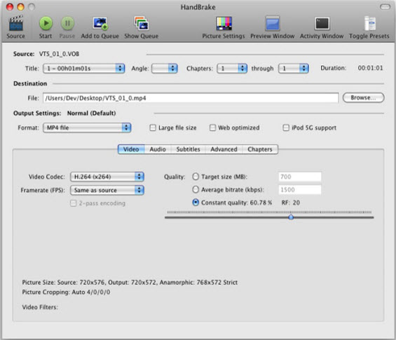 Top 5 video converter - Handbrake
