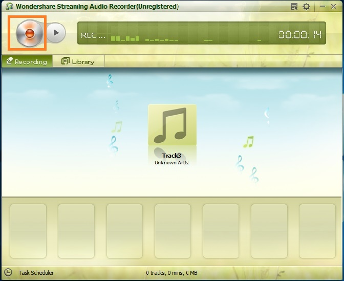 transfer Grooveshark to iTunes-click on the record button