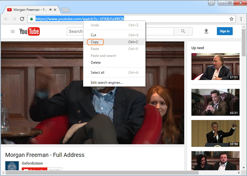 Download video from YouTube/websites to PC-copy the link