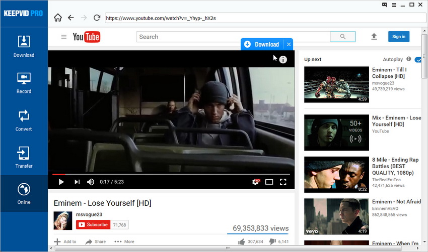 Download YouTube to MP3 - Find Video in YouTube with Built-in Browser