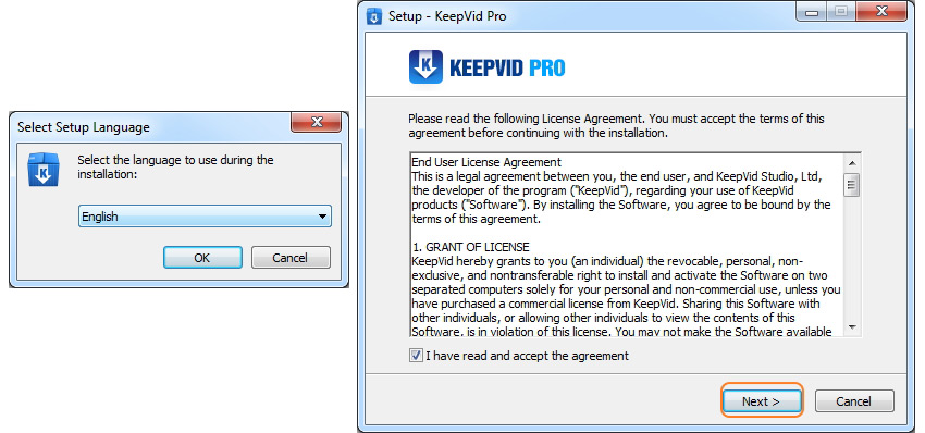 Intaller KeepVid Pro - select language