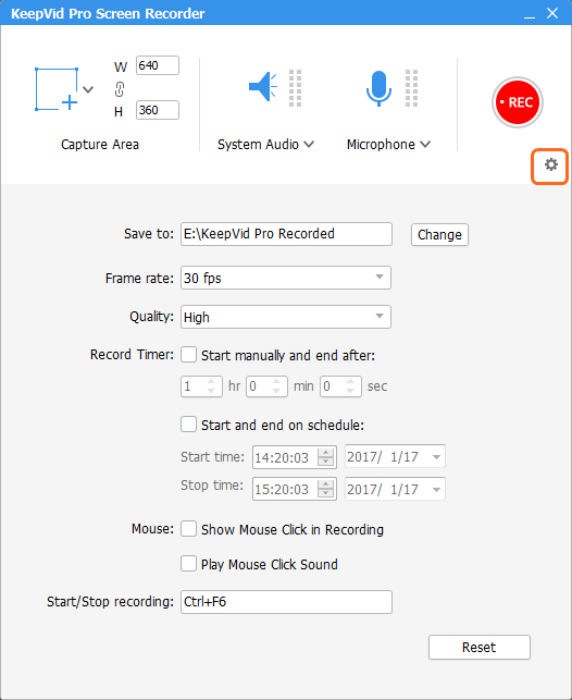 Record Video - Settings for Recording Process
