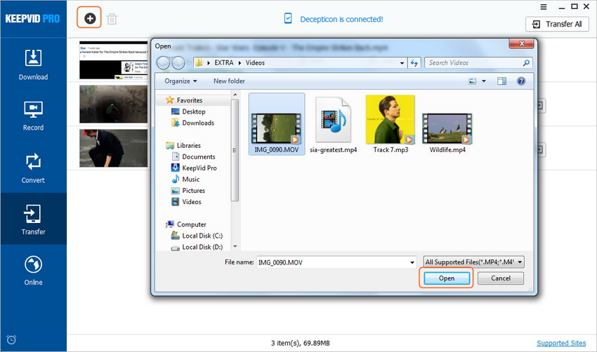 Transfer Videos to Mobile Devices - Add Local Video