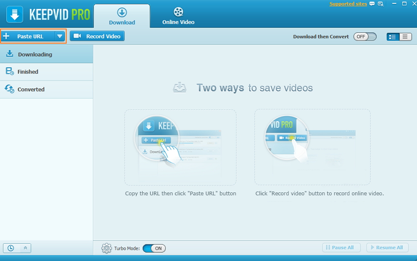 Download video from YouTube/websites to PC-Paste URL